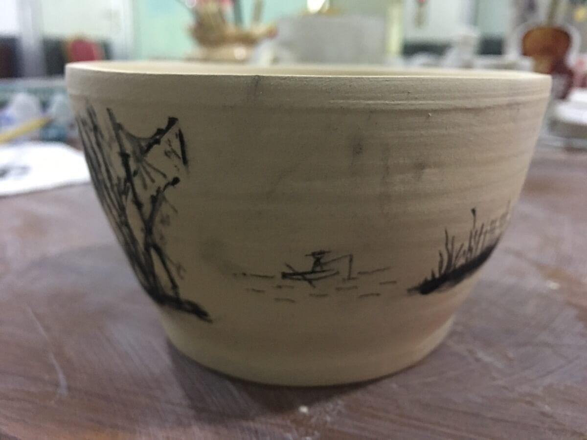 跑了四趟才完成的陶艺作品。